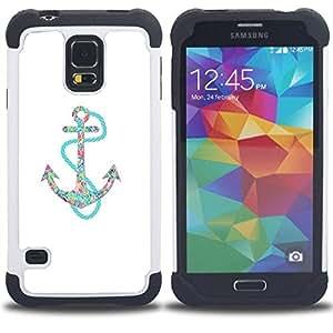 """Pulsar ( Ancla Teal blanco minimalista Mar Barco"""" ) SAMSUNG Galaxy S5 V / i9600 / SM-G900 V SM-G900 híbrida Heavy Duty Impact pesado deber de protección a los choques caso Carcasa de parachoques [Ne"""