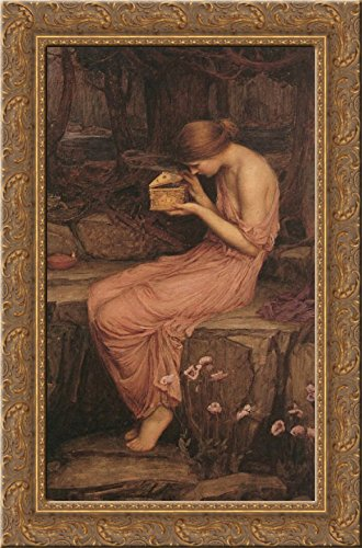 (Psyche Opening the Golden Box 24x16 Gold Ornate Wood Framed Canvas Art by John William Waterhouse)