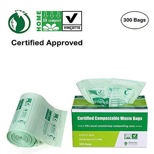 - Primode 100% Compostable Bags, 3 Gallon Food Scraps Yard Waste Bags, Extra Thick 0.71 Mil. ASTMD6400 Biodegradable Compost Bags Small Kitchen Trash Bags, Certified by BPI and VINCETTE, (300)