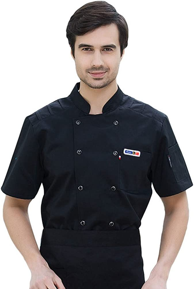 Dooxii Unisex Donna Uomo Estate Manica Corta Giacca da Chef Moda Cucina Mensa Hotel Uniformi Divise da Cuoco