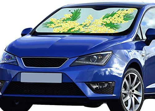 LWZHG Car Shade Window Mimosa Branch Image Mimosa 55x30 Inch Anti-uv Coating Protect Seats Foldable Polyester and Aluminized Film Cute Windshield Sun Shade