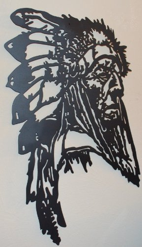 (Indian Chief with Full Feather Head Dress Size Is 21 3/4 X 12 Inches Metal Powder Coated Flat Black Silhouette Home Wall Decor for Your Country Western House or Cabin Keyhole Hanger Mounted to Back. )