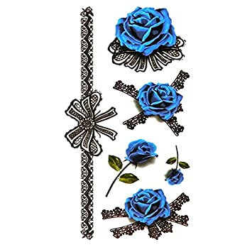 8e694a215 Amazon.com : Oottati Small Cute Temporary Tattoo Blue Rose Bracelet Ring (2  Sheets) : Beauty