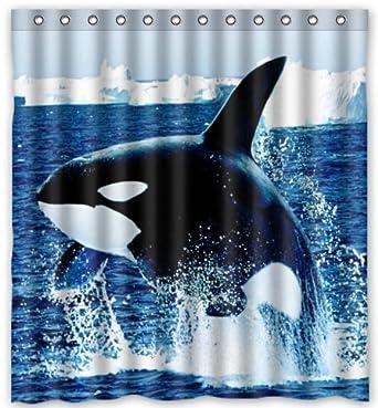 Amazon Top Design Killer Whale Orca Shower Curtain 66w X 72
