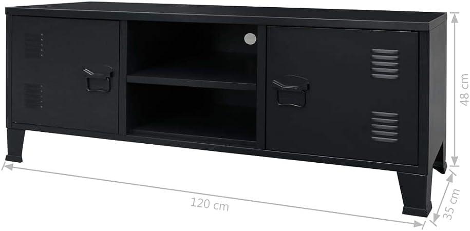 vidaXL Mueble TV 120x35x48 cm Negro Metálico Estilo Industrial ...
