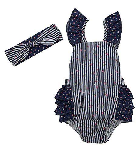 Messy Code Baby Girls Romper Onesies Clothes Boutique Adjustable Waist Ruffle Jumpsuits Navy Flower 6-12months - Boutique One Piece