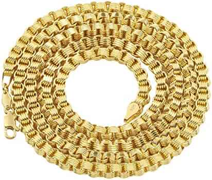LoveBling 10K Yellow Gold 4mm Fancy Belcher Double Rolo Chain Necklace (Available from 18-24 inches)
