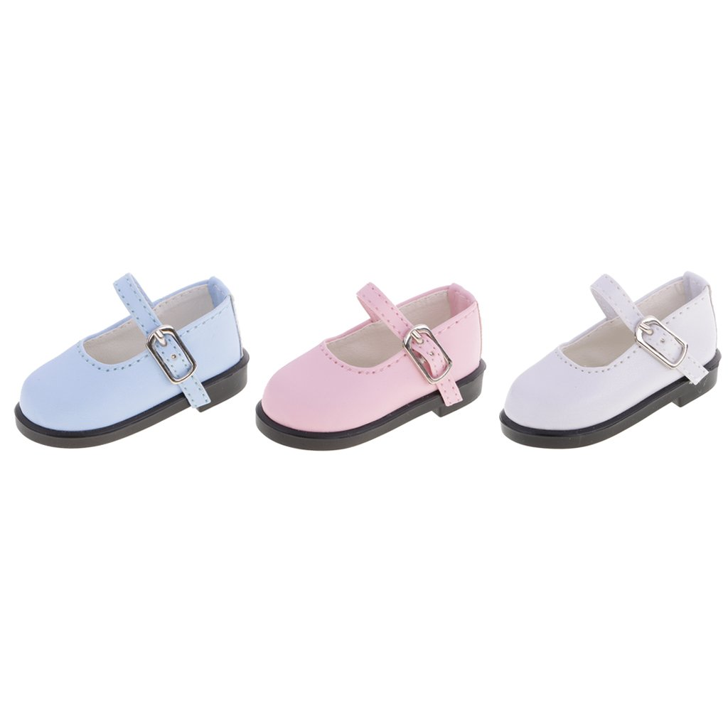 T TOOYFUL 3 Pairs 1/4 Buckle Flat Leather Shoes For BJD Doll Dollfie Clothes Dress Up