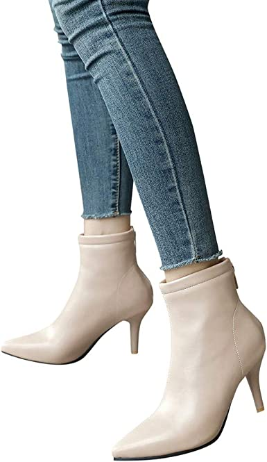 Womens Pointy Toe Stiletto High Heels Casual back Zipper Ankle Boots Party Shoes