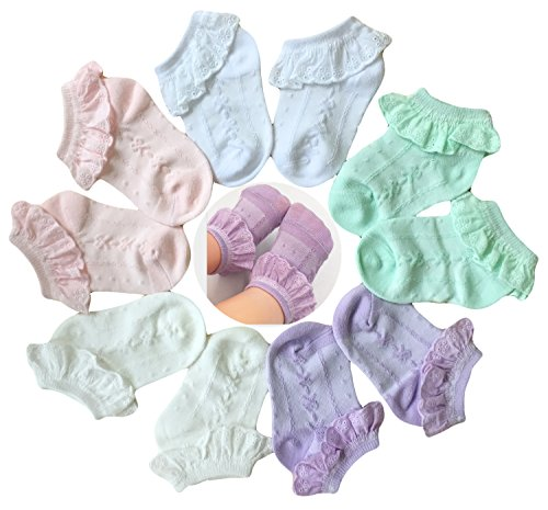 Baby Socks Flowers - Baby Girls' Eyelet Lace Flower Socks QandSweet Ankle Sock for Newborn Infant Toddlers Kids 0-8T (12-24 Months, 5-Pairs)