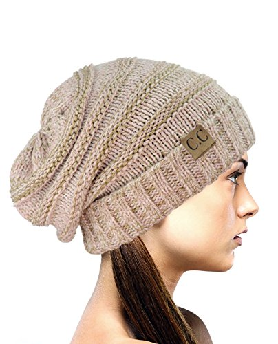 (NYFASHION101 Oversized Baggy Slouchy Thick Winter Beanie Hat, Rose Mix)