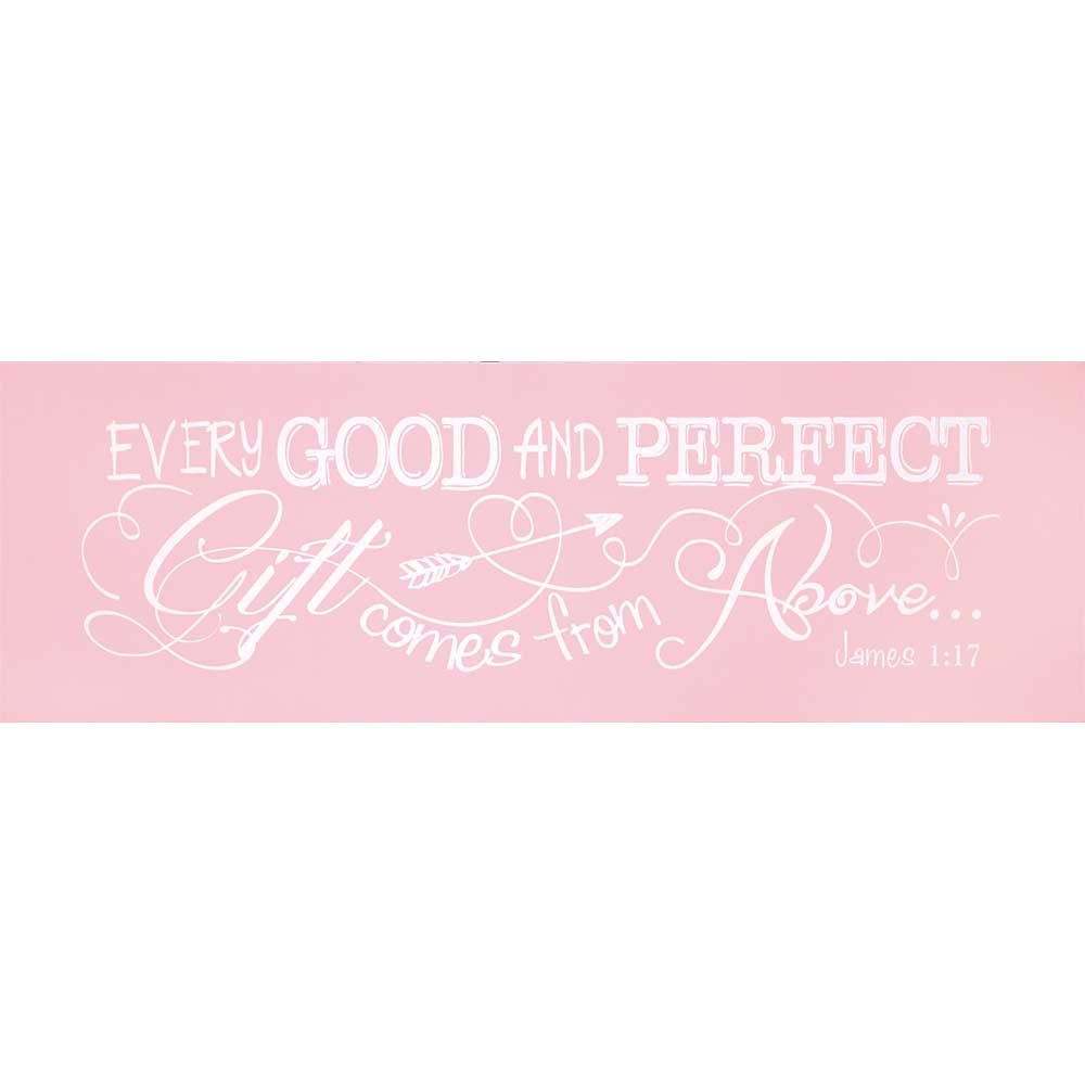 Dicksons Baby Girl Wall Plaque, Every Good and Perfect Gift James 1:17/Pink