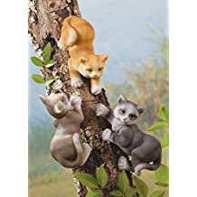 Tree Decorations - Petite Cat Tree Huggers, Set of 3 Outdoor Garden Decor, Perfect Gift For Feline Lovers