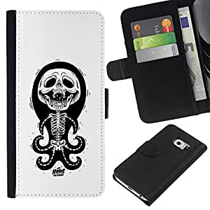 EJOY---La carpeta del tirón la caja de cuero de alta calidad de la PU Caso protector / Samsung Galaxy S6 EDGE / --Pulpo Blanco Negro divertido esqueleto cráneo