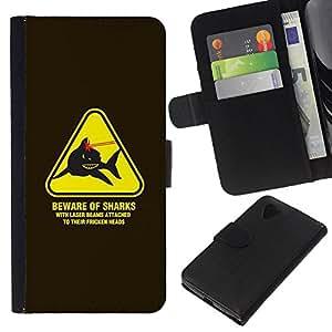 A-type (Danger Warning Lasers Powers Austin) Colorida Impresión Funda Cuero Monedero Caja Bolsa Cubierta Caja Piel Card Slots Para LG Nexus 5 D820 D821