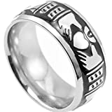 8mm Stainless Steel Claddagh Band Ring