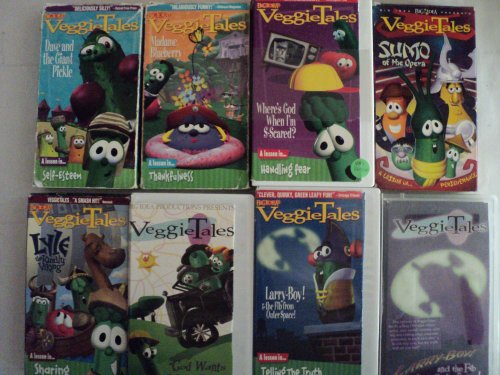 Veggie Tales Kids and Children 7 Pack VHS Movies: Dave and the Giant Pickle, Madame Blueberry, Where's God When I'm S-scared, Sumo of the Opera, Lyle the Kindly Viking, God Wants, Larry-boy & the Fib From Outer Space