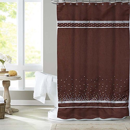 fabric shower curtain with embroidery sequence crystal stars crystal Collection (72-Inch by 72-Inch, brown) By United - Adelaide United Store