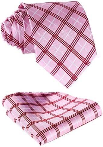 HISDERN Men's Plaid Jacquard Woven Tie Necktie Set