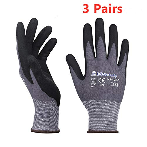 DS Safety NP1001 Nylon Knit Work Gloves with Micro Foam Technology & Spandex Liner Nitrile Coated Work Gloves,Touch Screen,Men