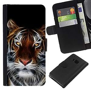Planetar® Modelo colorido cuero carpeta tirón caso cubierta piel Holster Funda protección Para HTC One M9 ( Fierce Magical Tiger )