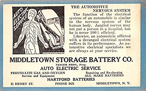 Middletown Storage Battery Co New York Postcard at Amazon's