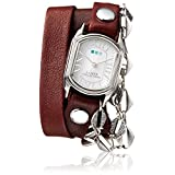La Mer Collections Women's 'Multi Chain' Quartz Stainless Steel Case Back, Nickle Free Mixed Metal Alloy and Leather Watch, Color:Burgundy/Silver-Toned (Model: LAMERMULTI4507)