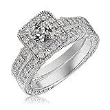 Platinum-Plated Sterling Silver with Cut CZ Elegant Engagement Wedding Princess Diamond Ring 2Pcs/Set