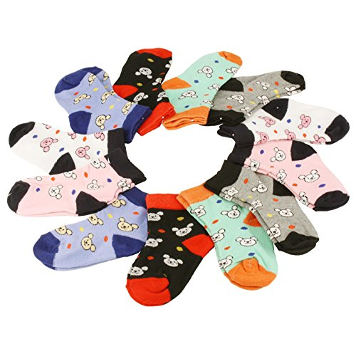 Price comparison product image 12 Pairs Cute Teddy Bear Casual Sport Long Crew Sock Set Toddler Unisex Ages 2-3