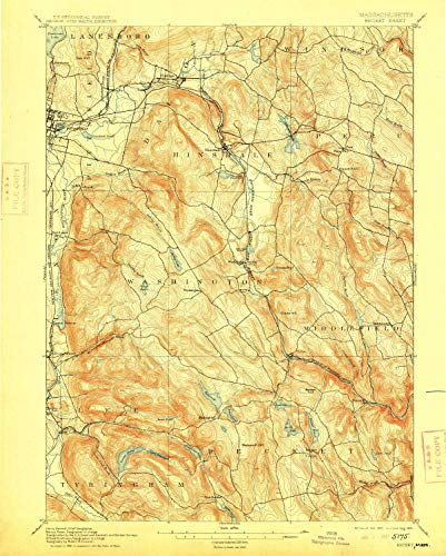 (YellowMaps Becket MA topo map, 1:62500 Scale, 15 X 15 Minute, Historical, 1897, Updated 1915, 19.7 x 15.8 in - Polypropylene)