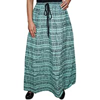 Mogul Women Vintage Skirts Green Printed Boho Flared Gypsy Long Maxi Skirts