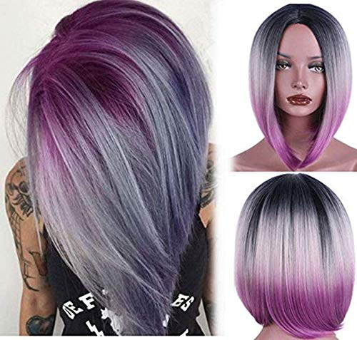Diy-Wig Women Short Bob Ombre Wigs Natural Synthetic Cosplay Purple Wig for Daily -