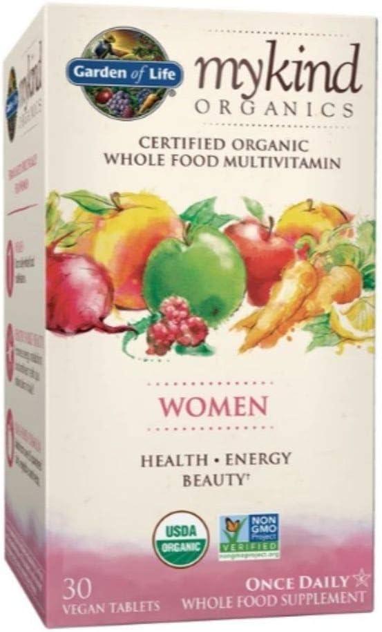 Garden of Life mykind Organics Women Once Daily Whole Food 60 Vegan Tablets Health Energy Beauty Multivitamin