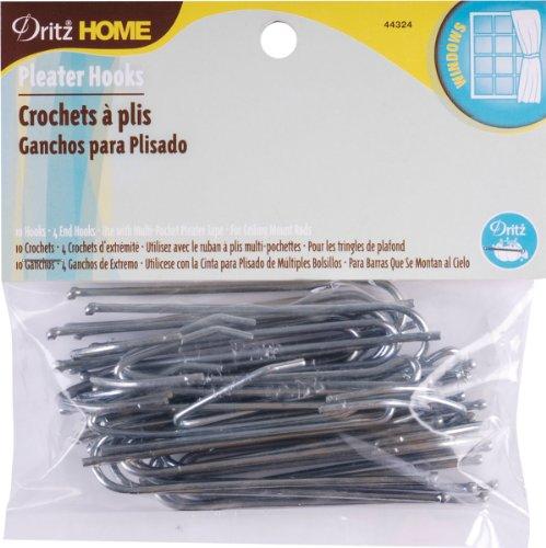 Pleater Hooks (Dritz 44324 Ceiling Pleater 4 End Hooks, 3-Inch, 10-Pack)