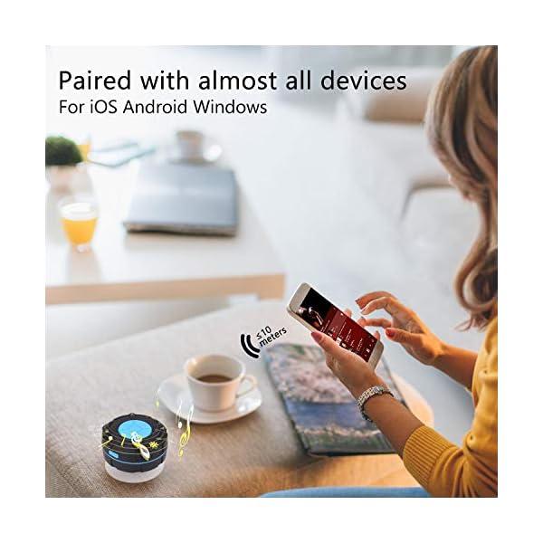 PEYOU Enceinte Bluetooth Portable,Étanche Haut-Parleur de Douche sans Fil IPX7 Parleur à Voix Haute stéréo de Bluetooth 4.2 avec Batterie 400mAh,Ventouse puissante,pour la Plage,Piscine et Cuisine 5