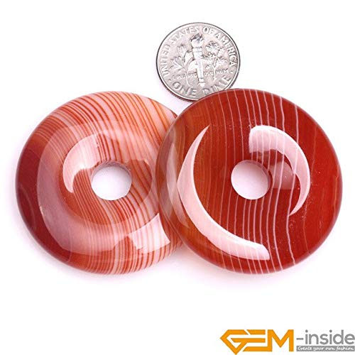 (Calvas 40mm 35mm 30mm Donuts Rings Red Natural Onyx Sardonyx Agates Stone Beads for Jewelry Making Strand 15 Inch Wholesale - (Color: 40mm))