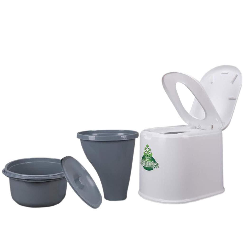 LIU UK Portable Toilet Tragbares äLteres Schwangere Frauen Der Abnehmbaren Toilettenhaushalts Einfache ToilettenlastkapazitäT 250kg Doppeltonnenentwurf Mit Rutschfester Unterseite