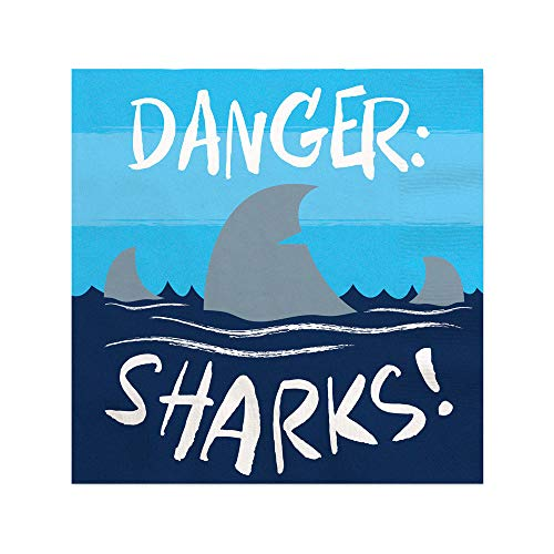 Shark Zone - Jawsome Shark Party or Birthday Party Cocktail Beverage Napkins (16 Count)