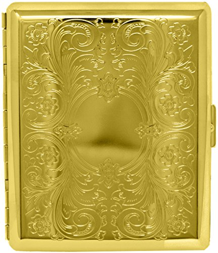 Gold Victorian Scroll (Full Pack 100s) Metal-Plated Cigarette Case & Stash Box