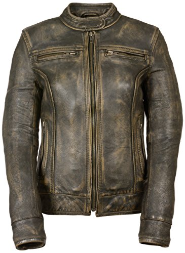 (Milwaukee Women's Distressed Scooter Jacket with Venting (Brown, Large))