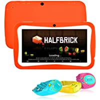 HD 7 Inch Kids Tablet, Hipo Android 4.4 Kids Pad Tablet GPS Tracker Kids Smart Watch Phone Wifi and Dual Camera 512MB/8GB Quad Core Kids APP IPS Display Touch Screen-Orange