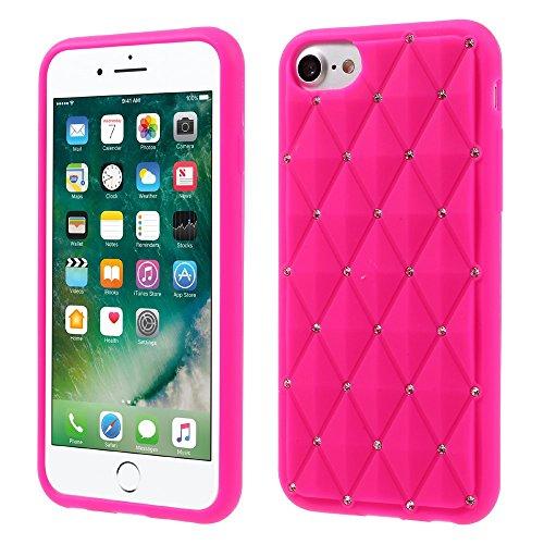 "Apple iPhone 7 4.7"" Handy Tasche Silikon Case Rhinestone Rhombus Glitzer Bling Hülle Rosa"