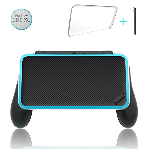 Fastsnail Comfort Grip Kit For Your New Nintendo 2Ds Xl  3 In 1 Accessories Kit For 2Ds Xl  Hand Grip   Crystal Cover   Stylus