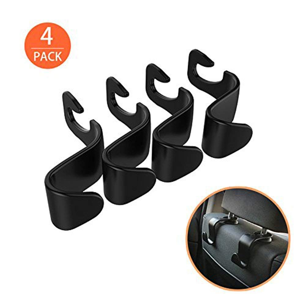 4 Pack Car Vehicle Back Seat Headrest Hook Hanger Storage for Purse Groceries Bag Handbag Organizer Holder Accessories (4PCS)