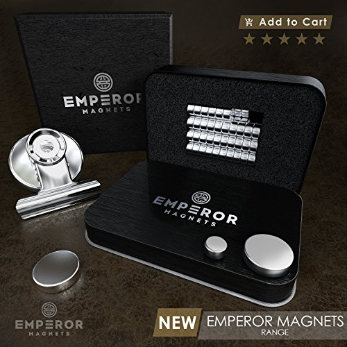 Emperor Magnets - Strong Refrigerator Magnets | Mini Powerful Fridge Magnets | Small Round Kitchen Magnet Hook Clips | Heavy Duty Metal Silver Finish Ideal For Office Whiteboard, Dry Erase Board by Emperor Magnets (Image #5)