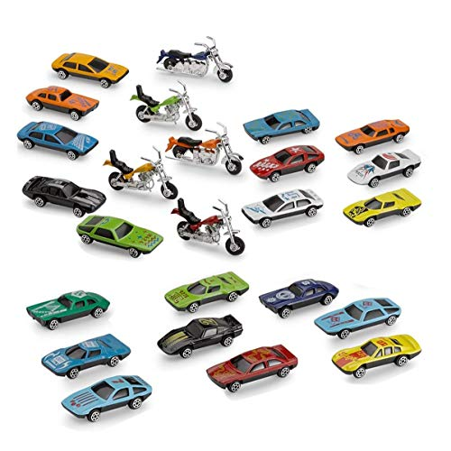 Kicko Diecast Cars and Motorcycles Assortment - 25 Piece Assorted Cars and Motorcycle Toys- Party Bag Stuffers and Fillers