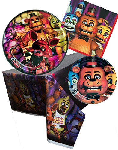 Price comparison product image Five Nights at Freddy's Birthday Party Bundle Set for 16 guests – Plates, Napkins, Table Cover