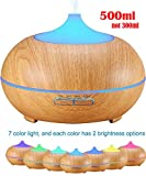 Image of Ledsniper 500ml Aroma Essential Oil Diffuser, Wood Grain Ultrasonic Cool Mist Humidifier for Office Home Bedroom Living Room Study Yoga Spa