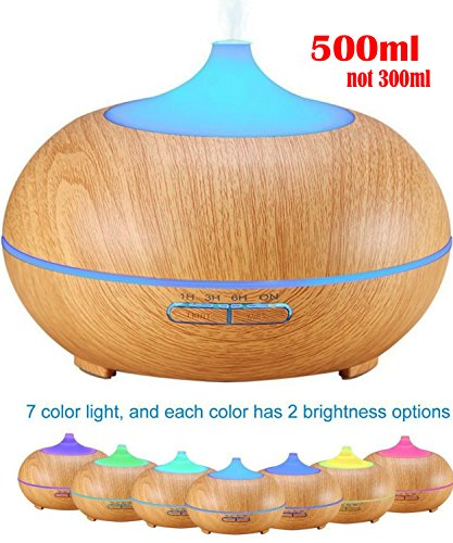 Ledsniper 500ml Aroma Essential Oil Diffuser, Wood Grain Ultrasonic Cool Mist Humidifier for Office Home Bedroom Living Room Study Yoga Spa Image