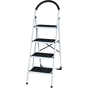 4 Step Ladder Lightweight Folding Stool Heavy Duty